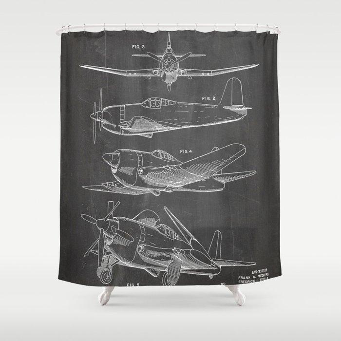 Wedberg Airplane Patent - Us Air Force Art - Black Chalkboard Shower Curtain