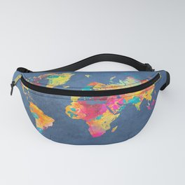 world map blue 2061 #map #worldmap Fanny Pack