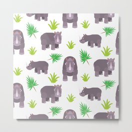 Funny hippo with green leaves Metal Print