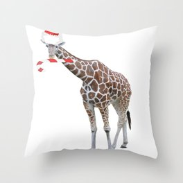 Christmas Giraffe with Santa Hat Throw Pillow