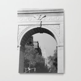 Empire State Building Through Washington Square Arch | New York City | Black and White Photography Metal Print