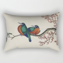 Chinese 18th century painting - 2 birds on a branch Rectangular Pillow