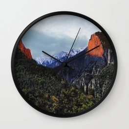Sunrise trip to the mountains Wall Clock