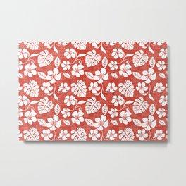 Red Hibiscus Hawaiian Flower Blooms and Tropical Leaves Pattern Metal Print