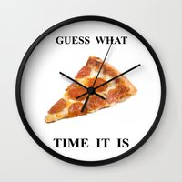 pizza Wall Clocks featuring Pizza by Wealthy Loser