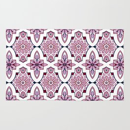 Lilac and burgundy flower Moroccan Tiles Rug