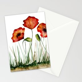 Red poppies Stationery Cards