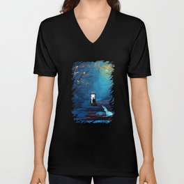 Tardis And The Doctor Lost In The Forest Unisex V-Neck
