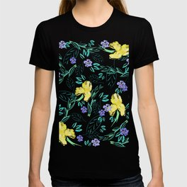 Yellow Iris and periwinkle floral pattern T-shirt