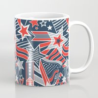 patriotic Mugs featuring Patriotic Pattern by Aron Gelineau