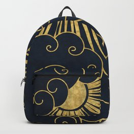 The Sun Always Shines Behind The Clouds (blue background) Backpack