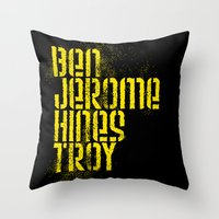 steelers Throw Pillows featuring Ben Jerome Hines Troy / Black by Brian Walker