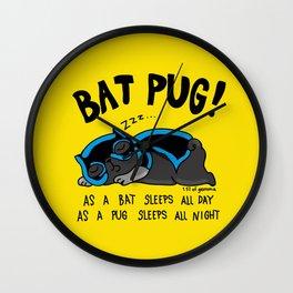 Black Bat Pug! Wall Clock