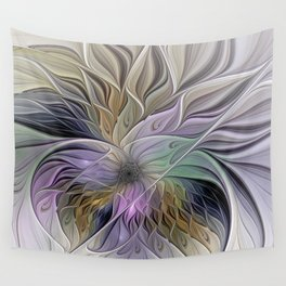 Abstract Flower, Colorful Floral Fractal Art Wall Tapestry