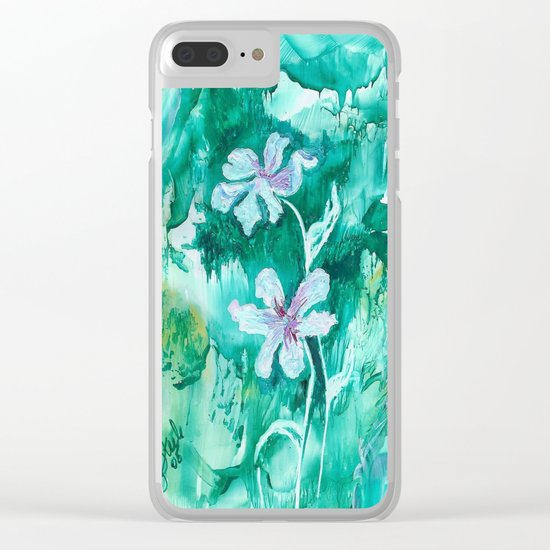 Green encaustic flowers Clear iPhone Case