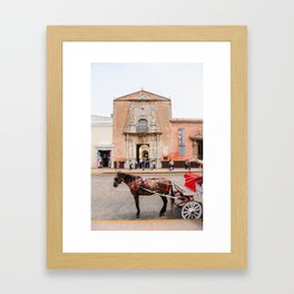 Horse Carriage in Downtown Merida, Mexico Framed Art Print