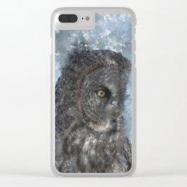 Contemplation - Great Grey Owl Portrait Clear iPhone Case