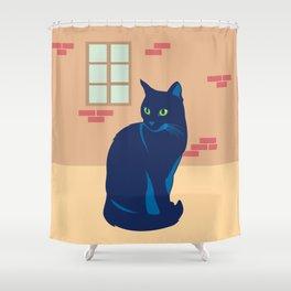 Black cat on the street Shower Curtain