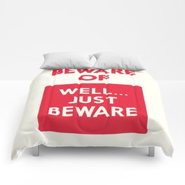 Beware of well just beware, safety hazard, gift ideas, dog, man cave, warning signal, vintage sign Comforters