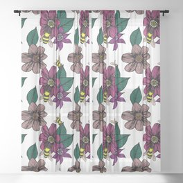 Bright Floral with Bees Sheer Curtain