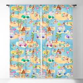 Monkey Beach Ice Cream Party Watercolor Pattern Blackout Curtain