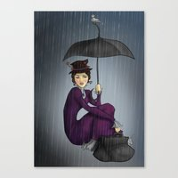 mary poppins Canvas Prints featuring Mary Poppins by CatAstrophe
