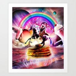 Cat Riding Unicorn With Pancakes And Milkshake Art Print