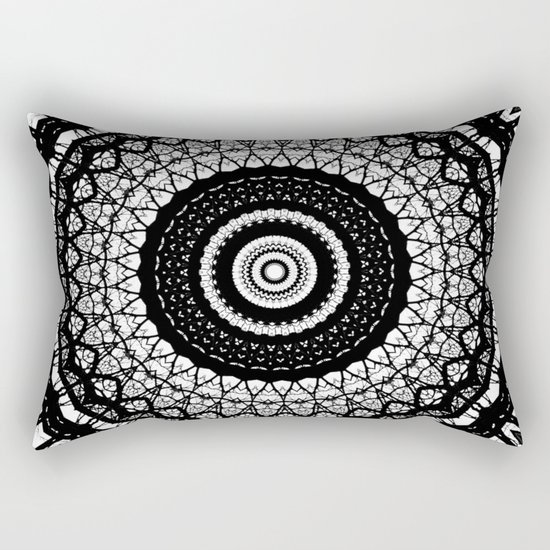 black and white mandala Rectangular Pillow