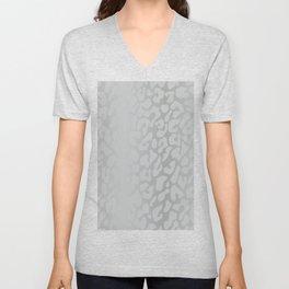 White Silver Leopard Print Unisex V-Neck