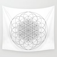 sacred geometry Wall Tapestries featuring Flower of life sacred geometry by Elfina