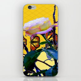 MONARCH BUTTERFLIES & ROSE ABSTRACT iPhone Skin