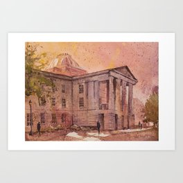 Watercolor painting of 19th century neo-classical Capital building in downtown Raleigh Art Print