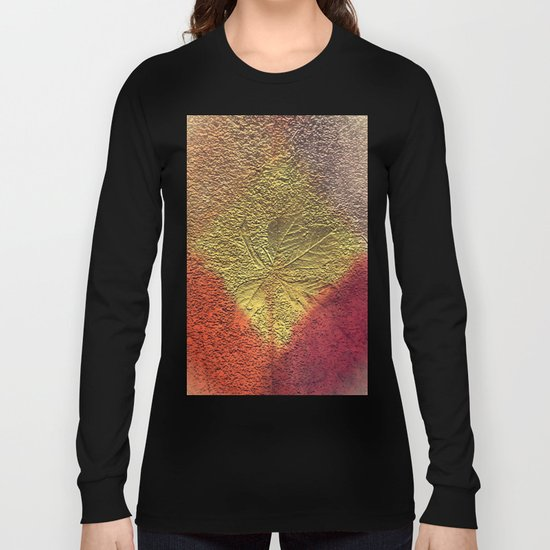 Golden leaves with purple pink and orange metallic look Long Sleeve T-shirt