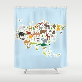 animal bison bat fox wolf elk horse cock camel partridge fur seal Walrus goats Polar bear Eagle Shower Curtain