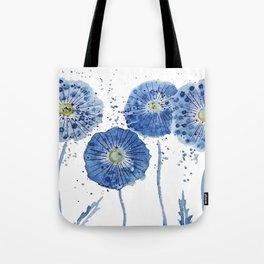 four blue dandelions watercolor Tote Bag