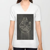 falcon V-neck T-shirts featuring Millennium Falcon by LindseyCowley