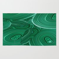 malachite Area & Throw Rugs featuring Green Malachite Nature Pattern Design Abstract by SharlesArt