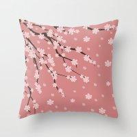 sakura Throw Pillows featuring Sakura by Julia Badeeva