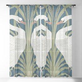 Swan Rush and Iris by Walter Crane Sheer Curtain