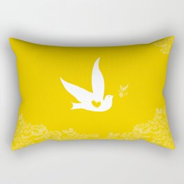 Wings of Love - Golden & Yellow Rectangular Pillow