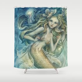 mermaid with Flowers in her hair Shower Curtain