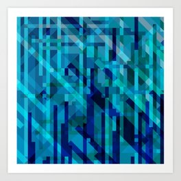 abstract composition in blues Art Print