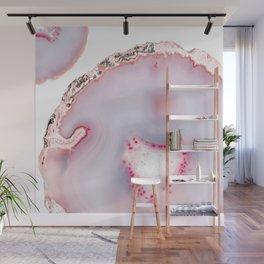 Pink Rose Gold Blush Agate Marble Gemstone Wall Mural