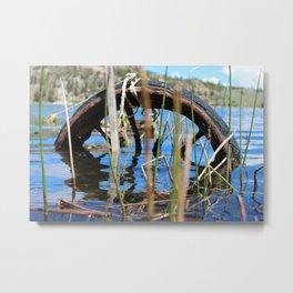 Rusty Tire in Lake Behing Reeds Metal Print