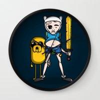 finn and jake Wall Clocks featuring Finn & Jake by mebz art