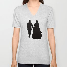 Wedding Couple Silhouette Design For Weddings Unisex V-Neck