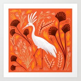 Crane in the Marsh Art Print