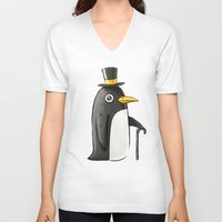 penguin V-neck T-shirts featuring Penguin by Freeminds