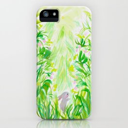 Bunny in strawberry patch iPhone Case