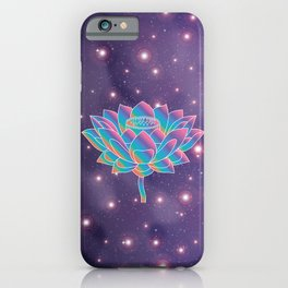 Blue Rainbow Lotus Holly Flower in Universe iPhone Case